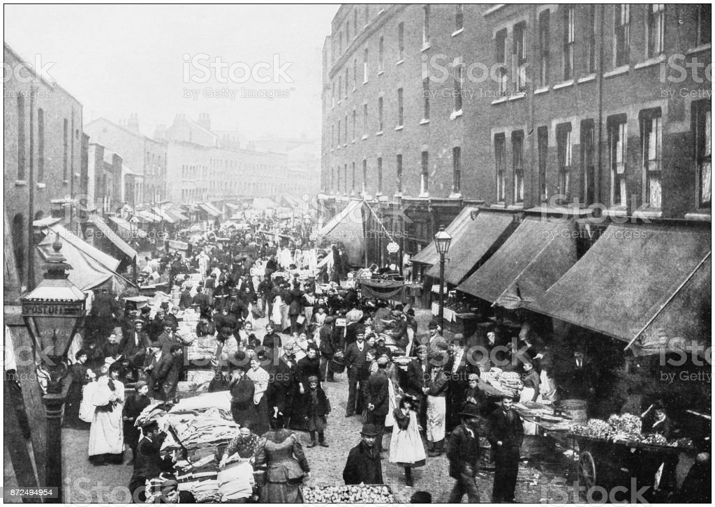 Antique photograph of London: Petticoat lane stock photo