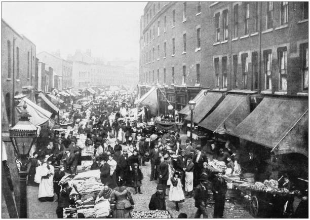 Antique photograph of London: Petticoat lane Antique photograph of London: Petticoat lane 1890 stock pictures, royalty-free photos & images