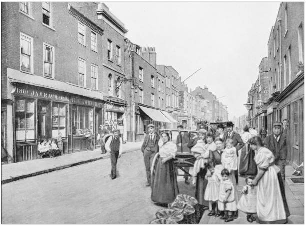 Antique photograph of London: St George's Street Antique photograph of London: St George's Street 1890 stock pictures, royalty-free photos & images
