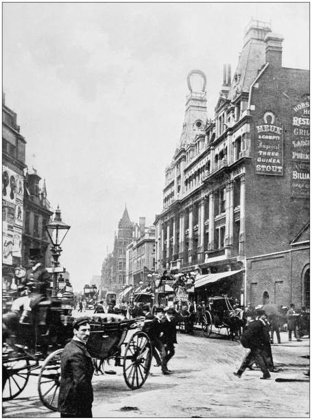 Antique photograph of London: Tottenham Court Road Antique photograph of London: Tottenham Court Road 1890 stock pictures, royalty-free photos & images