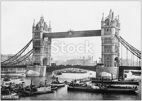 Antique photograph of London: Tower Bridge