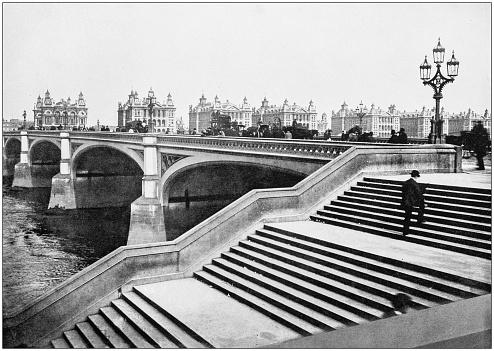 Antique photograph of London: Westminster Bridge
