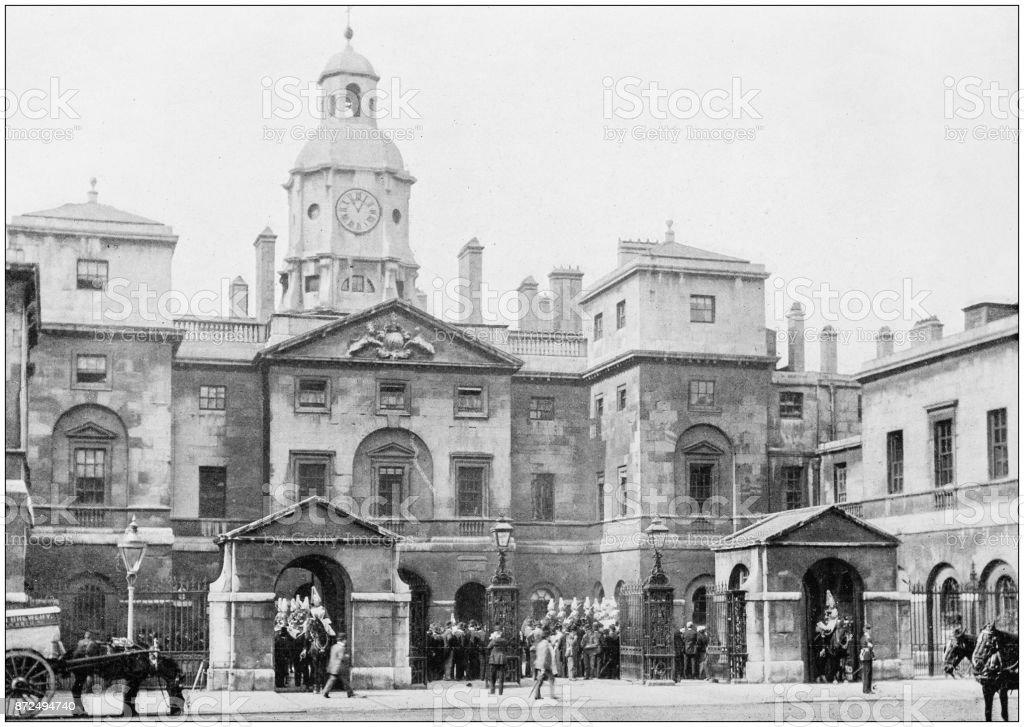 Antique photograph of London: Whitehall stock photo