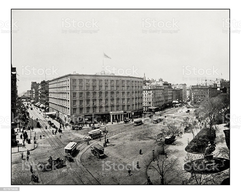 Antique photograph of Madison Square, New York stock photo