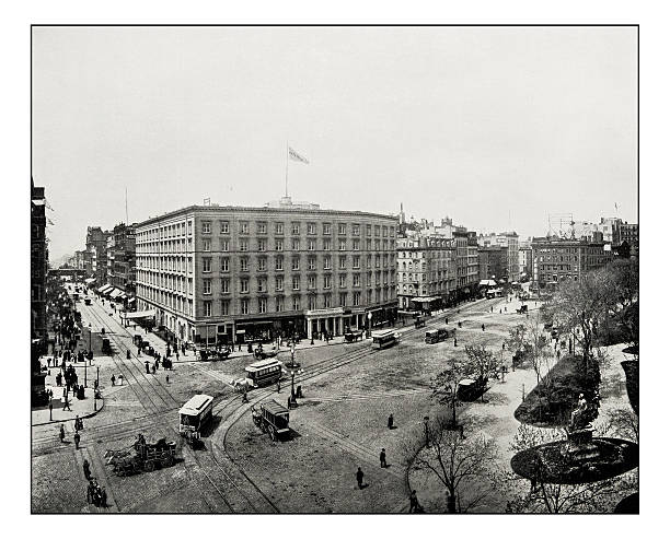 antique photograph of madison square, new york - 19. jahrhundert stock-fotos und bilder
