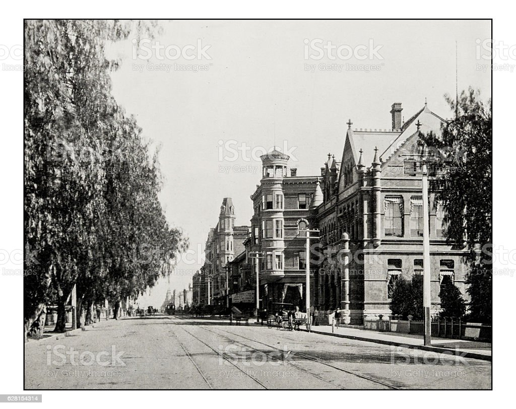 Antique photograph of Main Street, Los Angeles stock photo