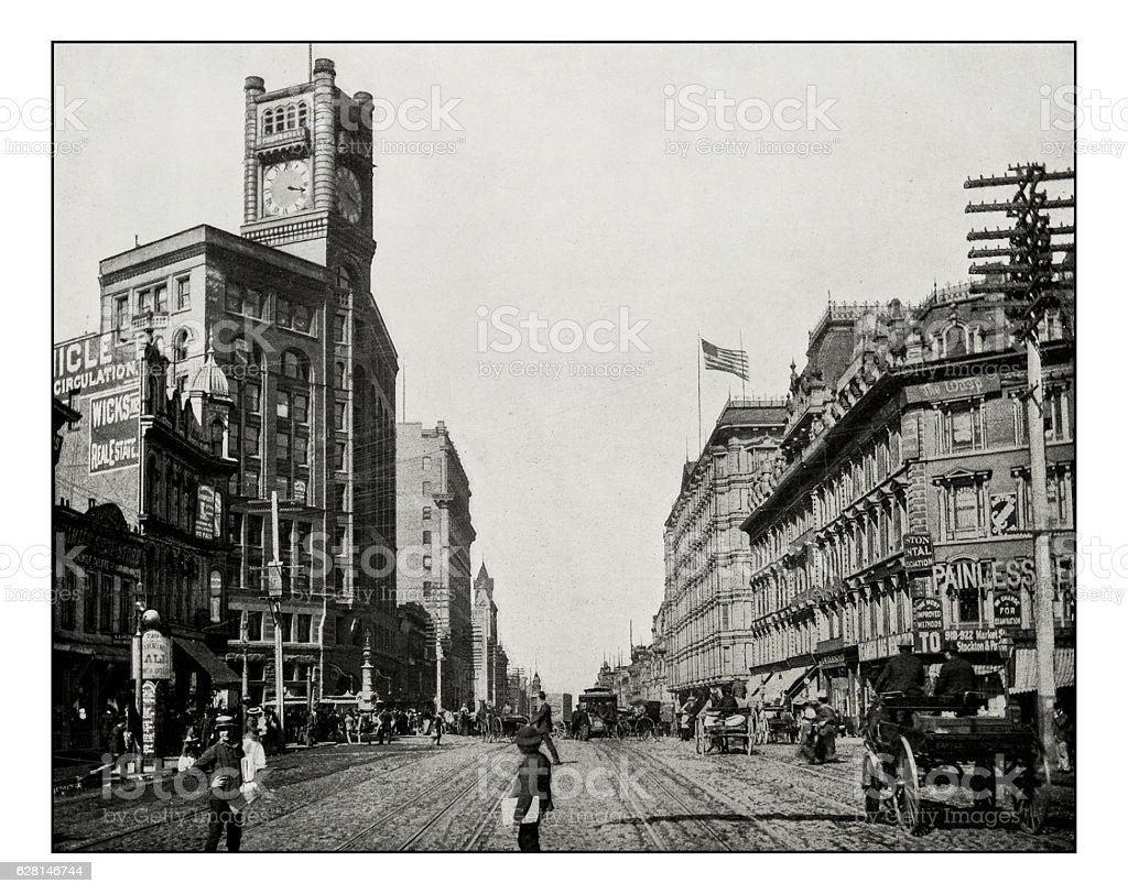 Antique photograph of Market Street, San Francisco stock photo