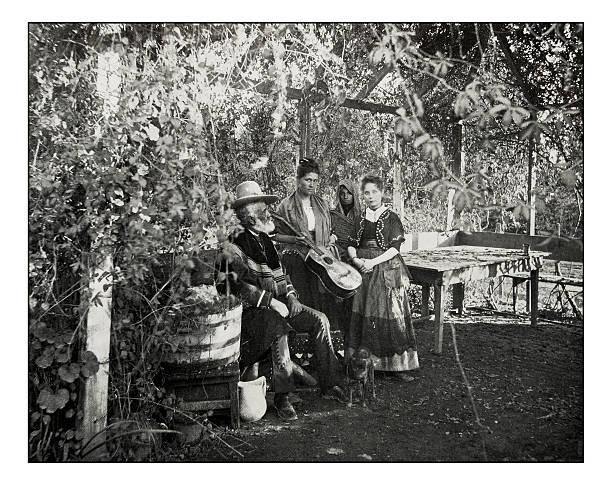 antique photograph of mexicans in southern california - mexikanische möbel stock-fotos und bilder