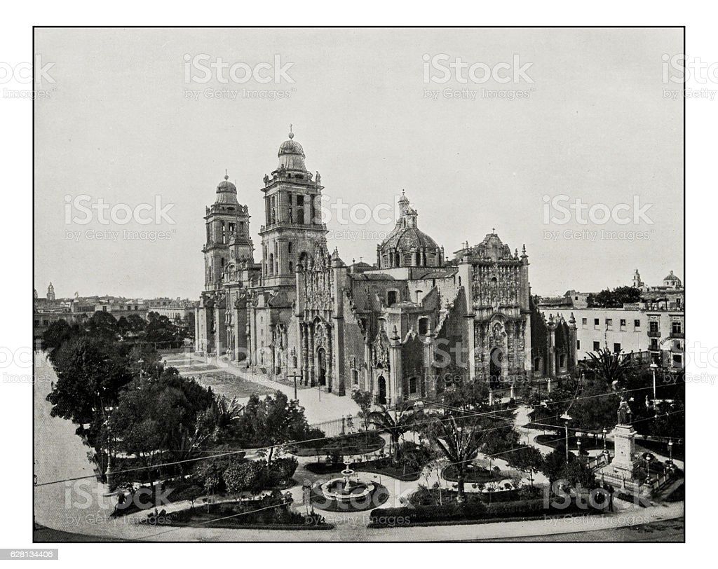 Antique photograph of Mexico City Cathedral stock photo