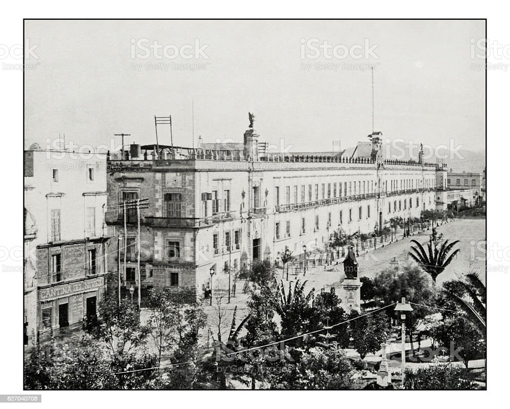 Antique photograph of Mexico city, National Palace stock photo