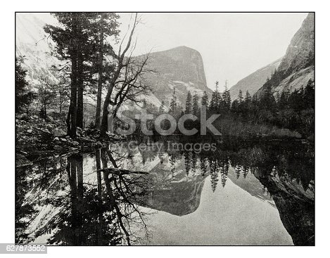 Antique photograph of Mirror Lake, Teneya Canyon