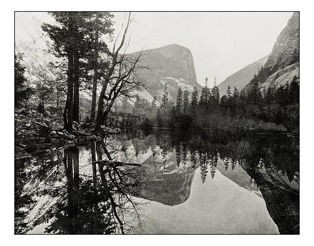 antique photograph of mirror lake, teneya canyon - lac mirror lake photos et images de collection