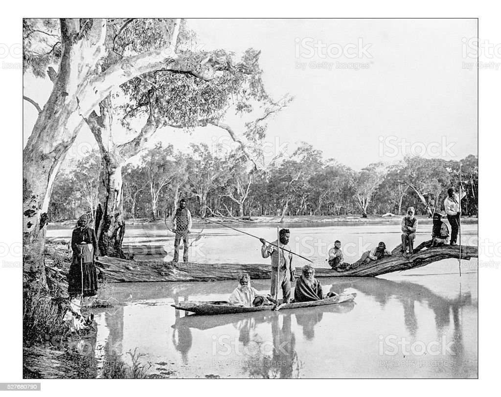 Antique photograph of natives of Australia fishing (19th century) stock photo