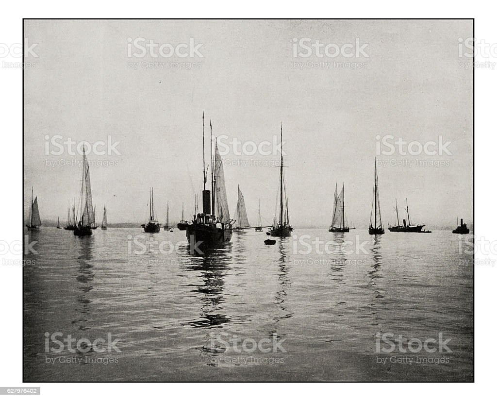 Antique photograph of New York Bay Sailing ships stock photo
