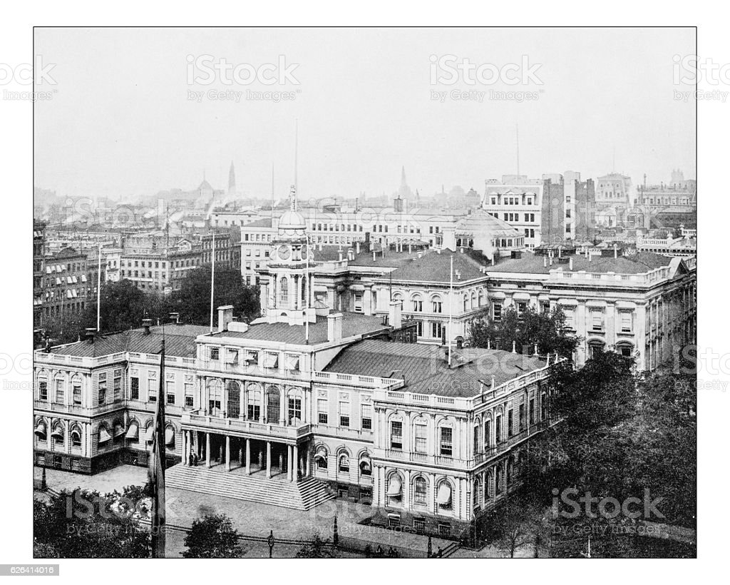 Antique photograph of New York City Hall(New York,USA)-19th century stock photo