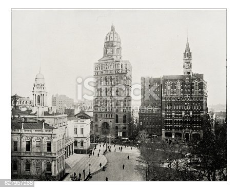 Antique photograph of New York newspaper buildings