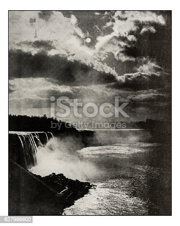 Antique photograph of Niagara Falls by moonlight