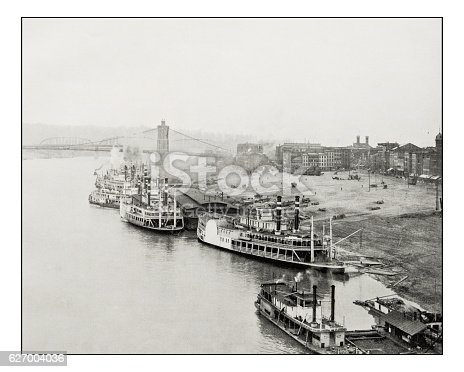 Antique photograph of Ohio River in Cincinnati