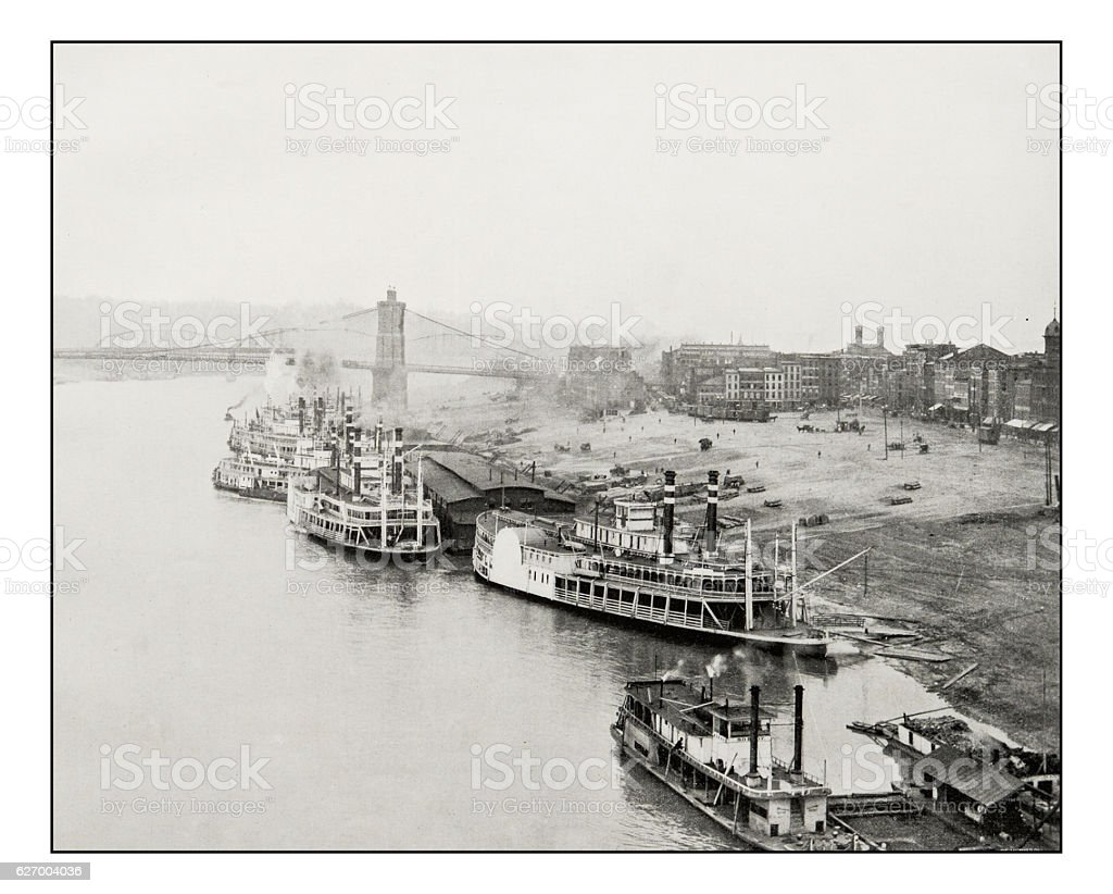 Antique photograph of Ohio River in Cincinnati stock photo