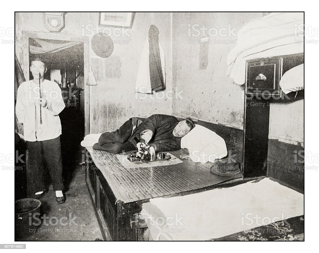 Antique photograph of Opium Den in San Francisco – Foto