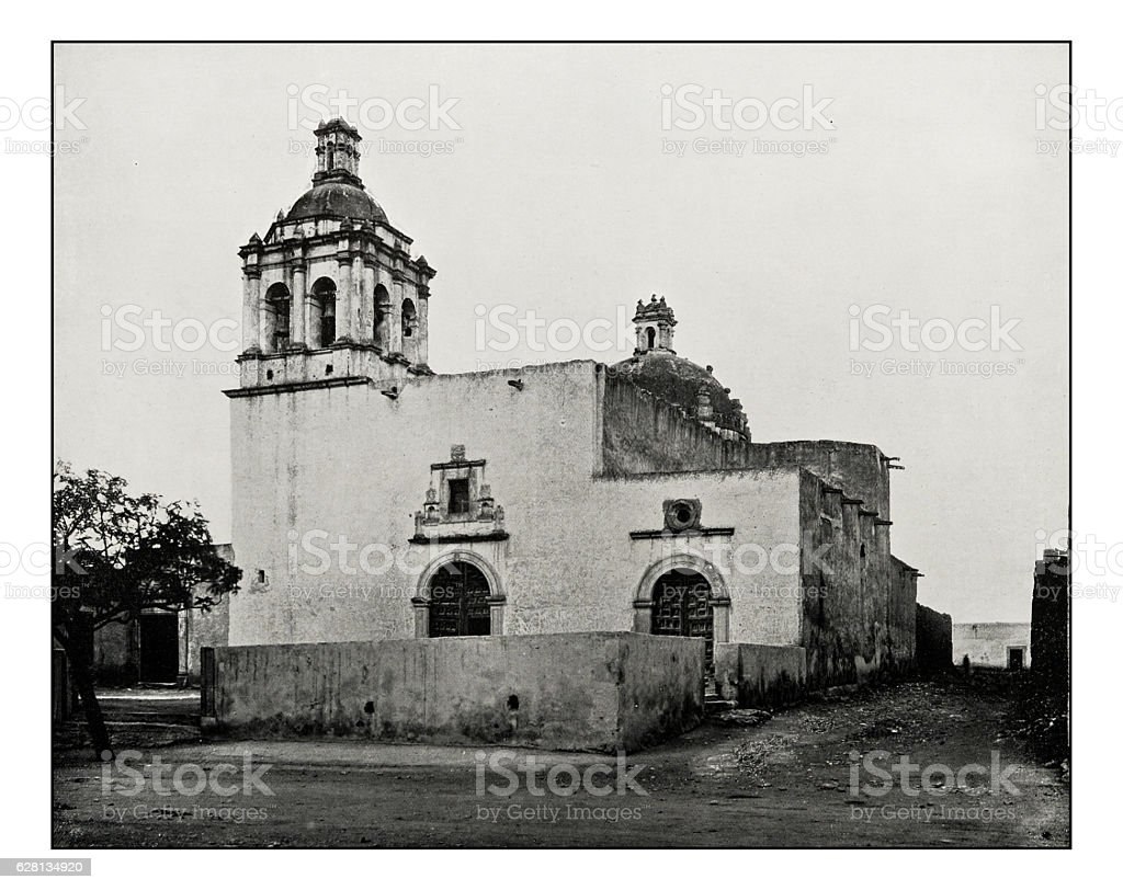 Antique photograph of Our Lady of Guadalupe, Chihuahua stock photo