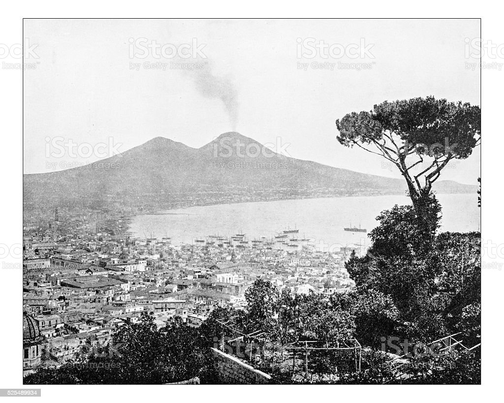 Antique photograph of panorama of the Gulf of Naples (Italy) stock photo