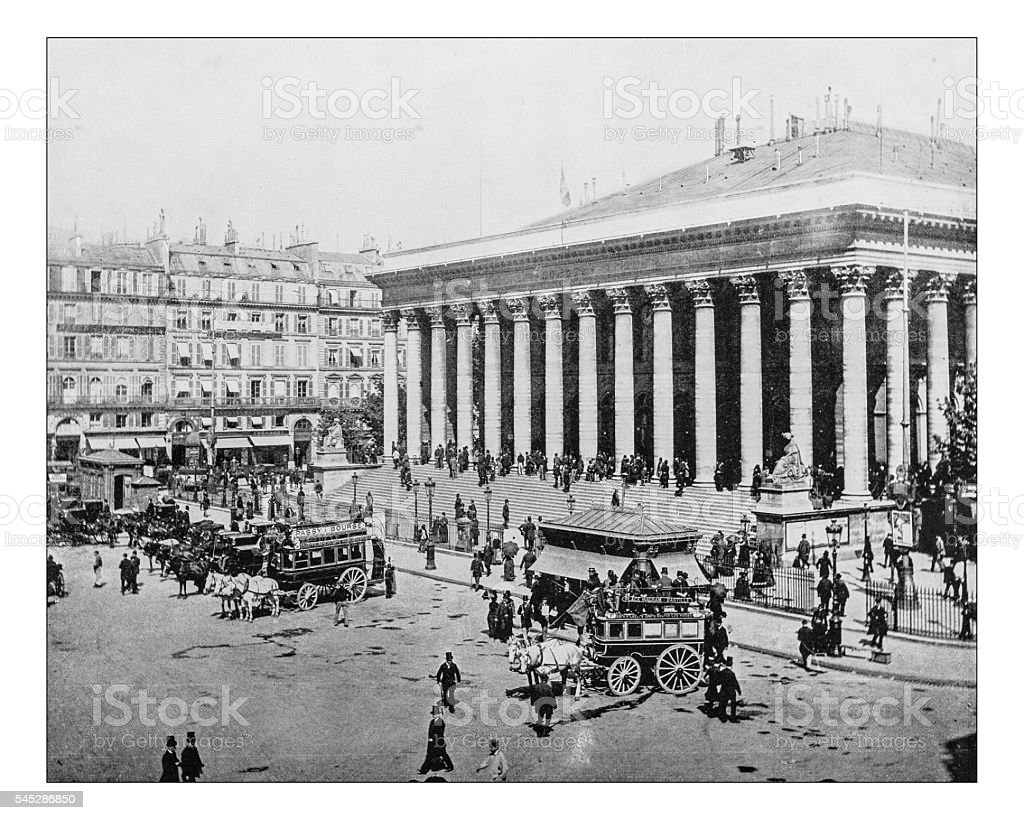 Antique photograph of Paris Bourse (Palais Brongniart, Paris, France)-19th century - Photo