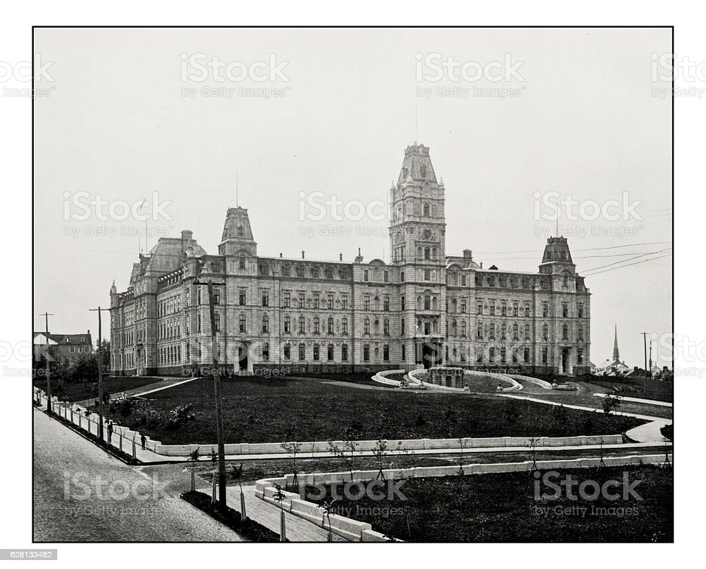 Antique photograph of Parliament House, Quebec stock photo