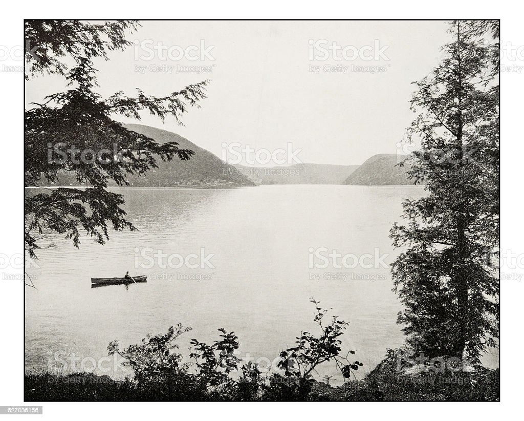 Antique photograph of Peekskill Bay on Hudson River stock photo