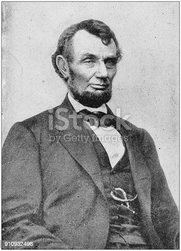 Antique photograph of people from the World: Abraham Lincoln