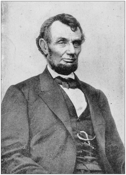 Antique photograph of people from the World: Abraham Lincoln stock photo