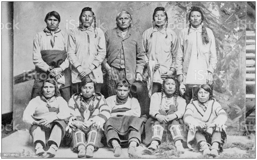 Antique photograph of people from the World: Blackfeet Indians stock photo