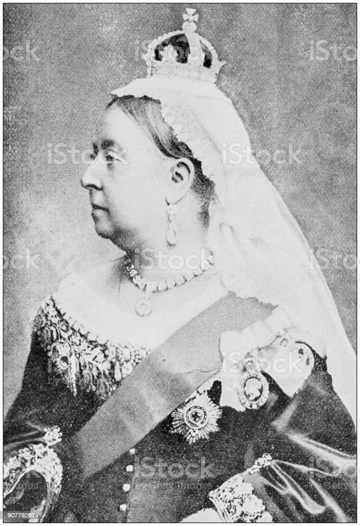 Antique photograph of people from the World: Queen Victoria, England stock photo