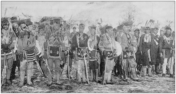 Antique photograph of people from the World: Sioux Indians