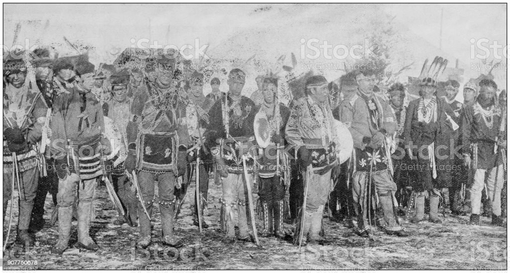 Antique photograph of people from the World: Sioux Indians stock photo