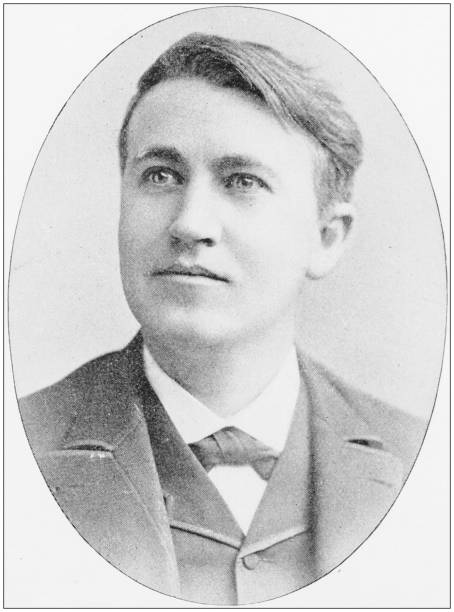 Antique photograph of people from the World: Thomas A Edison Antique photograph of people from the World: Thomas A Edison 1890 stock pictures, royalty-free photos & images