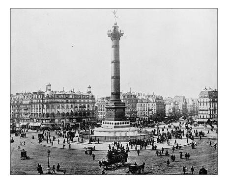 Antique photograph of Place de la Bastille (Paris, France)-19th century