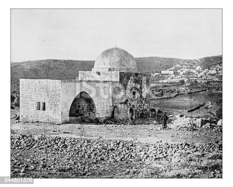 Antique photograph of Rachel's Tomb, the burial place of the Hebrew matriarch Rachel holy to Jews, Christians, and Muslims (as Bilal bin Rabah mosque). It is an Ottoman building