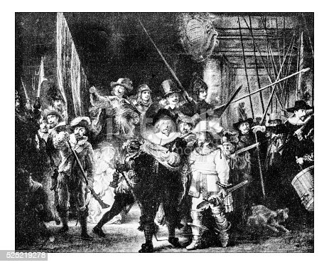 Antique photograph of the famous 1642 Rembrandt's painting commonly known as