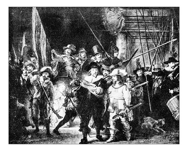 """Antique photograph of Rembrandt's painting """"the night watch"""" Antique photograph of the famous 1642 Rembrandt's painting commonly known as """"the night watch"""" (original name: Militia Company of District II under the Command of Captain Frans Banninck Cocq, also known as The Shooting Company of Frans Banning Cocq and Willem van Ruytenburch, currently at the Rijksmuseum. This colossal painting, a  dynamic military portrait, depicts an army company led by Captain Frans Banning Cocq and his lieutenant, Willem van Ruytenburch. The painting features a certain number of soldiers and a small girl carrying the emblem of arquebusiers. rijksmuseum stock pictures, royalty-free photos & images"""