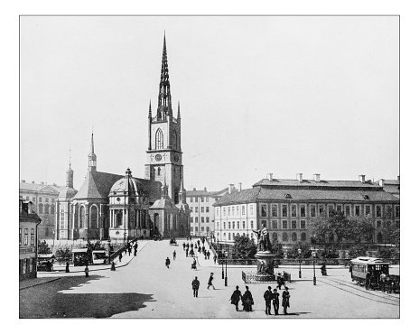 Antique photograph of Riddarholm Church (Stockholm, Sweden)-19th century picture.