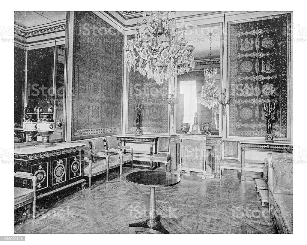 Antique photograph of room of Palace of Fontainebleau (France)-19th century stock photo