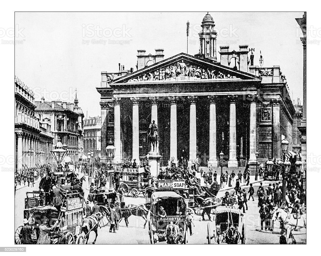 Antique photograph of Royal Exchange (London, England), 19th century stock photo