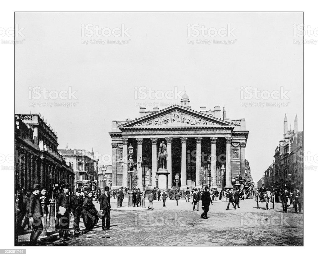 Antique photograph of Royal Exchange ( London, England)-19th century picture stock photo