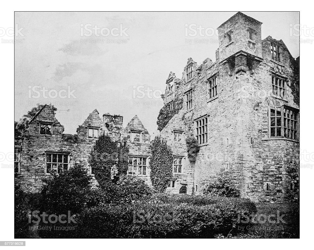 Antique photograph of ruins of Donegal Castle (Ireland)-19th century stock photo