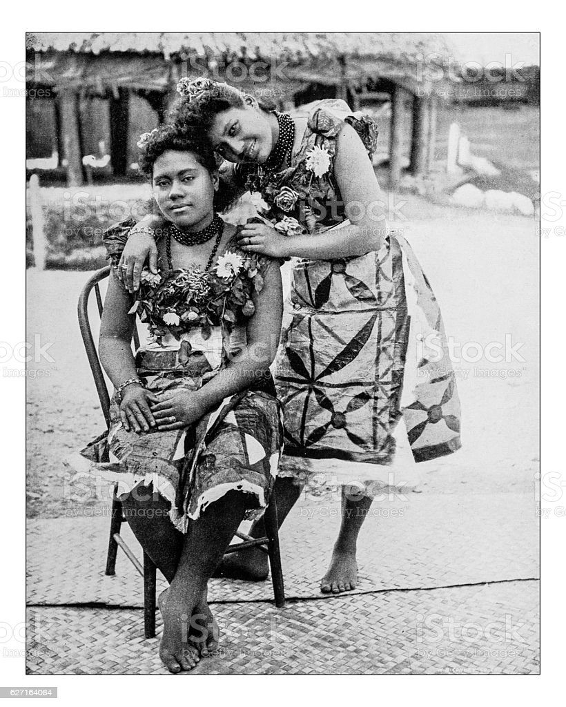 Antique photograph of Samoan Girls - World's Columbian Exposition,Chicago-1893 stock photo