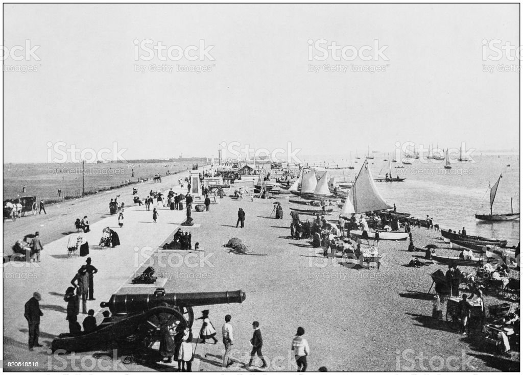 Antique photograph of seaside towns of Great Britain and Ireland: Southsea stock photo