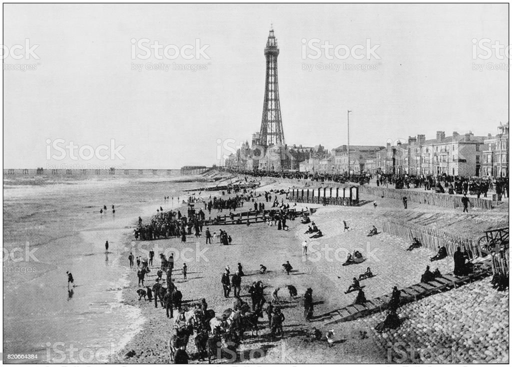 Antique photograph of seaside towns of Great Britain and Ireland: Blackpool stock photo