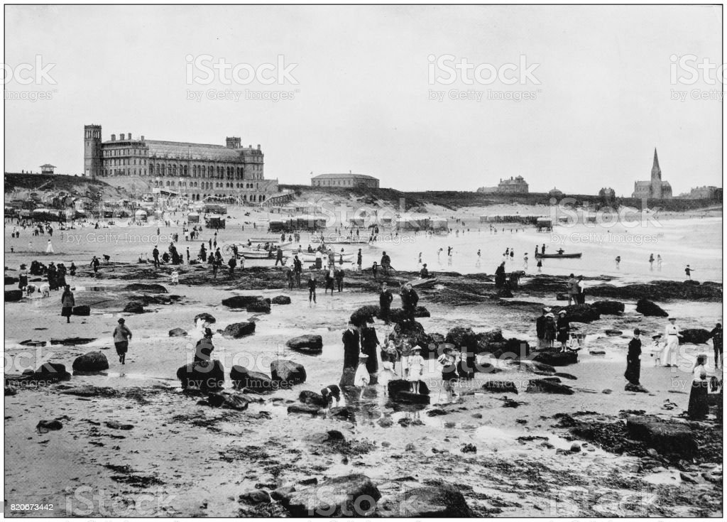 Antique photograph of seaside towns of Great Britain and Ireland: Tynemouth stock photo