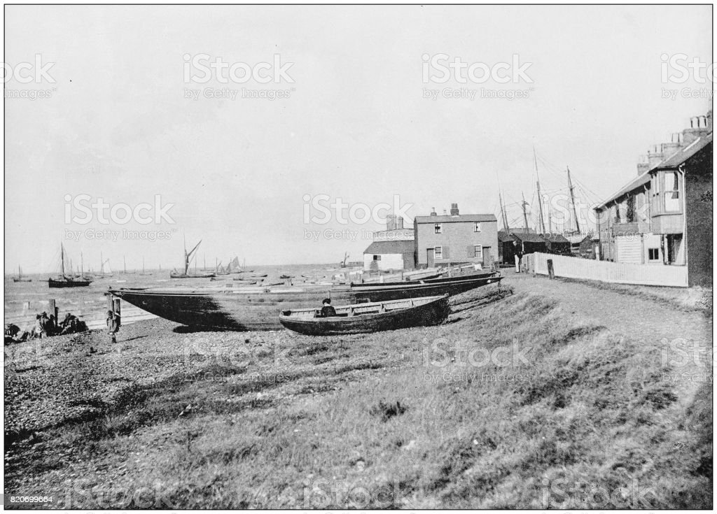 Antique photograph of seaside towns of Great Britain and Ireland: Whitstable stock photo